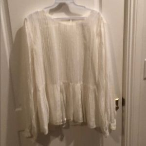 Loft cream colored blouse with full long sleeves